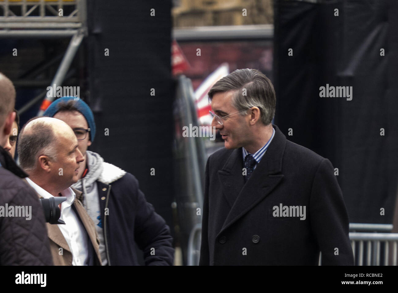 London, UK. 15th January 2019. Jacob Rees-Mogg being interviewed outside Parliament in London, UK. Credit: Jason Wood/Alamy Live News. - Stock Image