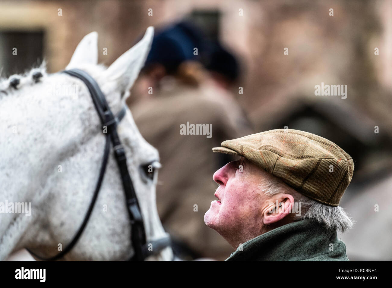 Wooler, Northumberland, England, UK. 15th January 2019. Martin Letts, Master of the College Valley and revered in the hunting community as one of the finest breeders of foxhounds, in both the UK and US. The Duke of Beaufort Hunt, one of the largest and most prestigous packs in the British Isles, were hosted by the College Valley Hunt in Northumberland, laying trails over challenging steep hill country in the Cheviots. Credit: Chris Strickland / Alamy Live News - Stock Image
