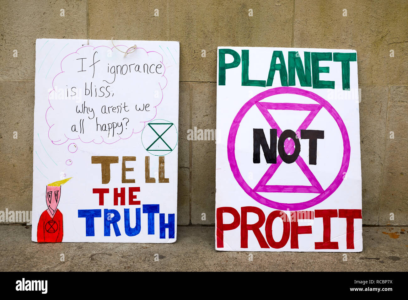 London, UK. - 15 Jan 2019: Placards from Earth Strike, a grassroots enviromental activisit movement, which demonstrated in Parliament for a General Stike day on 27 September. Credit: Kevin J. Frost/Alamy Live News Stock Photo