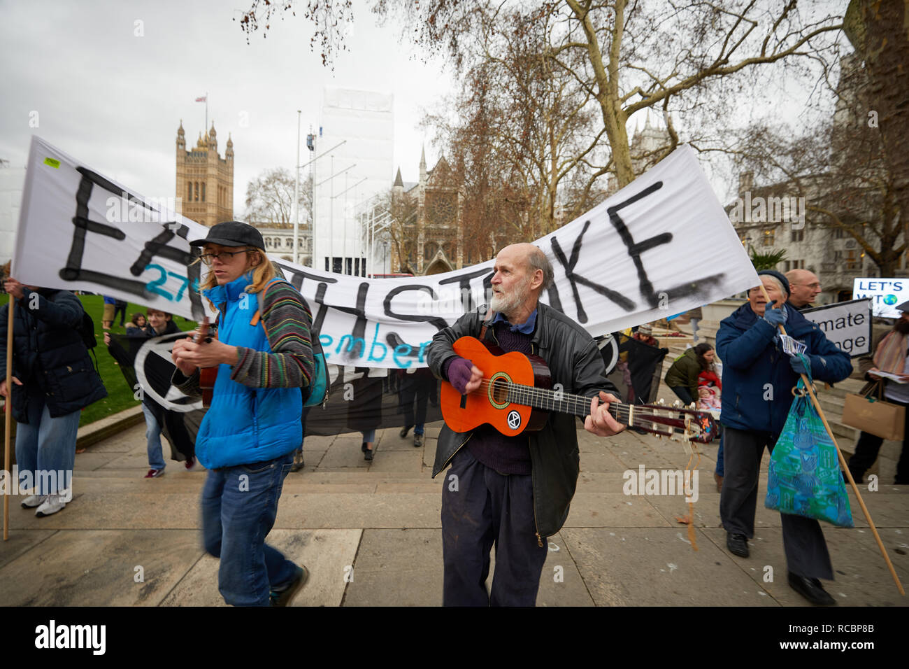 London, UK. - 15 Jan 2019: Musicians lead a march by supporters of Earth Strike, a grassroots enviromental activisit movement, to kickoff a campaign for a General Stike day on 27 September. Credit: Kevin J. Frost/Alamy Live News Stock Photo