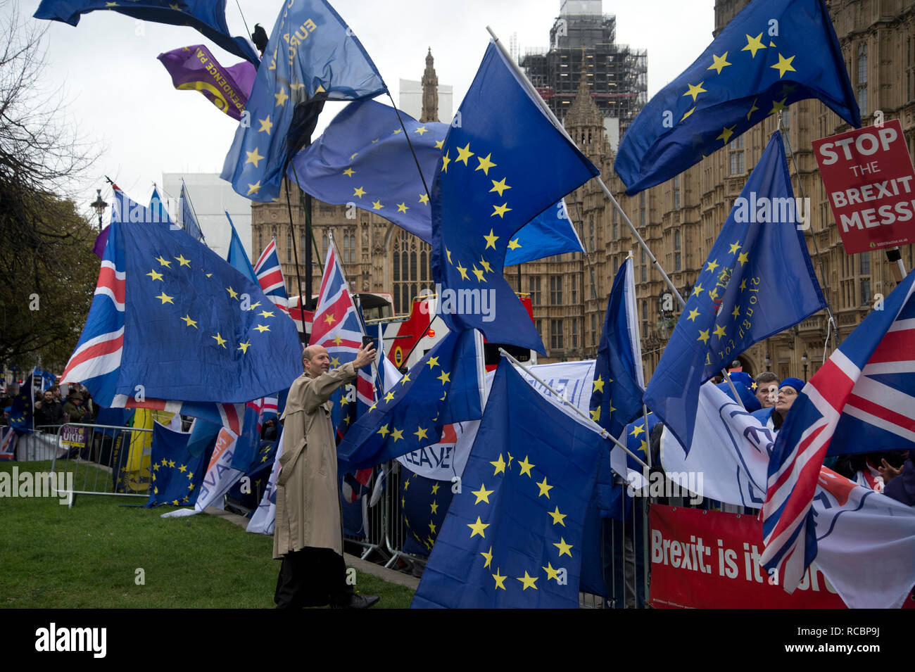 Westminster, London, UK. January 15th 2019. Demonstrations outside the Houses of Parliament as MPS vote on PM Theresa May's Brexit deal. A sea of European flags from Remainers. Credit: Jenny Matthews/Alamy Live News - Stock Image