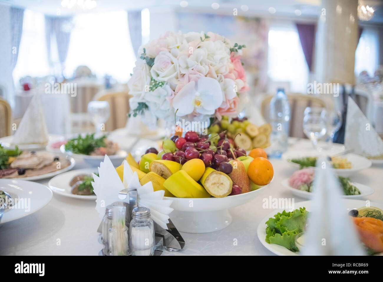 Festive Table Setting Wedding Decor Table Setting In Fine Art Style Table Decor Catering Wedding Ceremony Birthday Wedding Celebration At A Restaurant Beautiful Small Bouquets On A Table Selected Focus Stock Photo