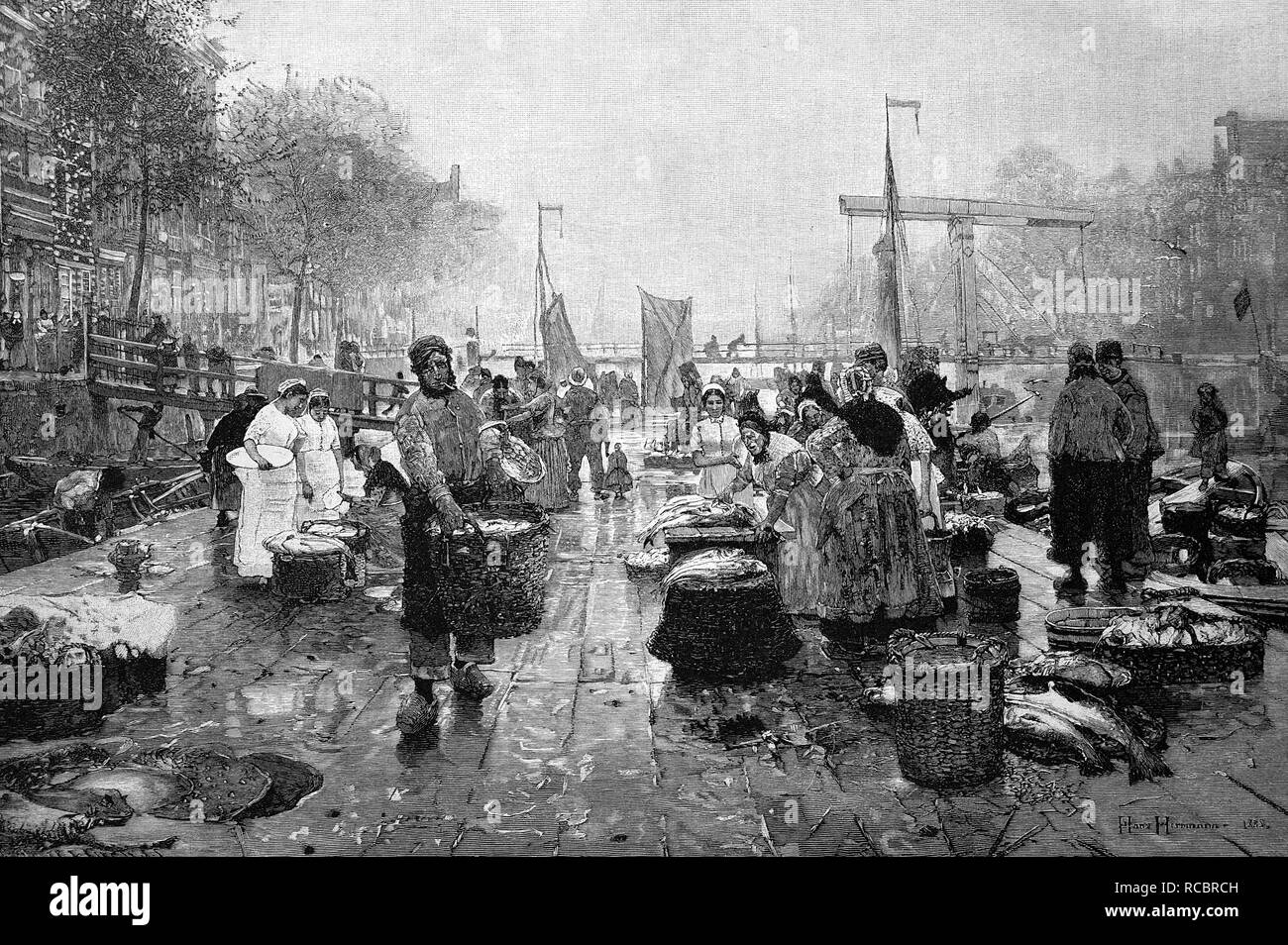 Fish market in Amsterdam, Netherlands, historical wood engraving, 1886 - Stock Image