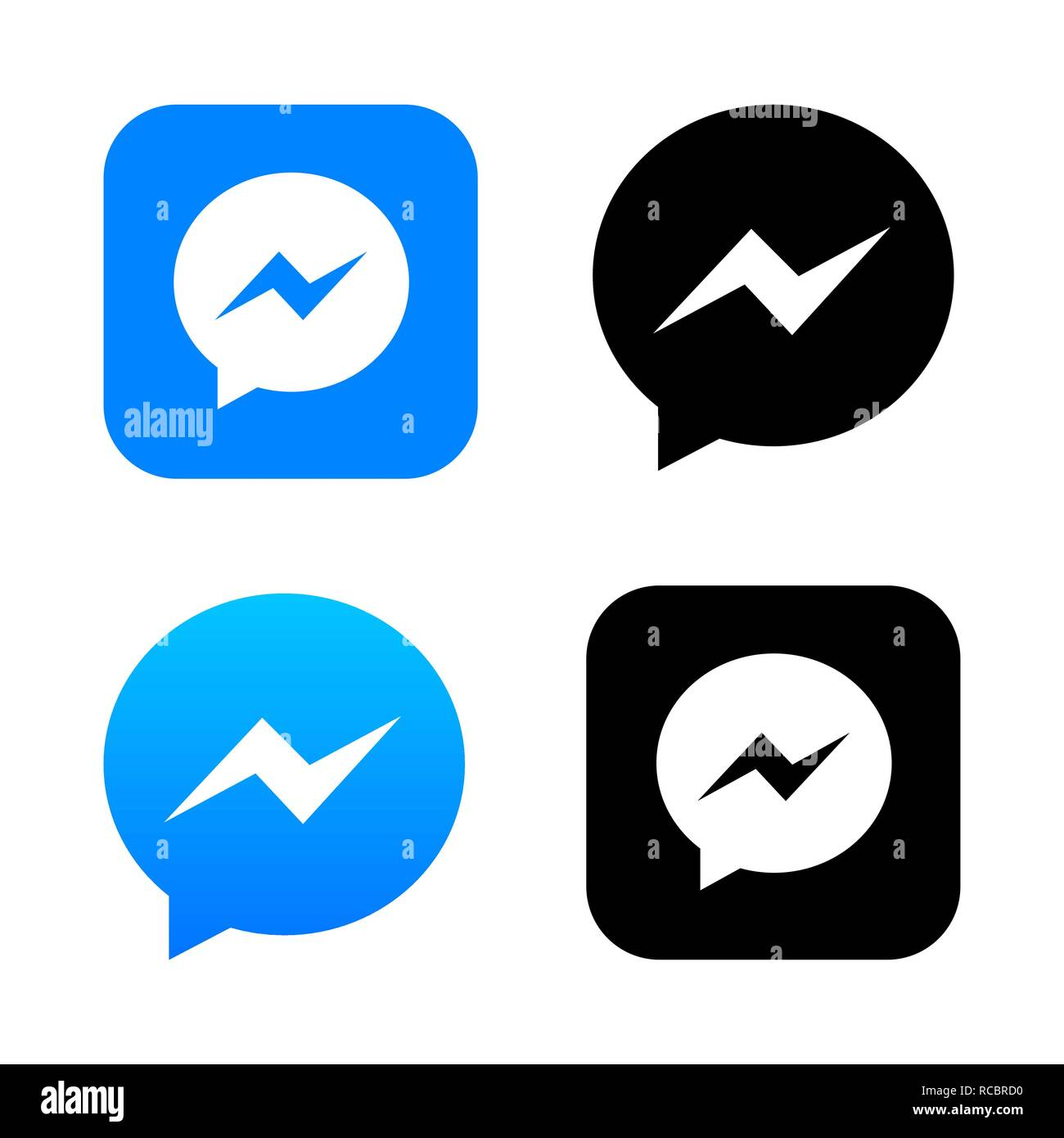 Blue chat app icon with message bubble vector logo on white