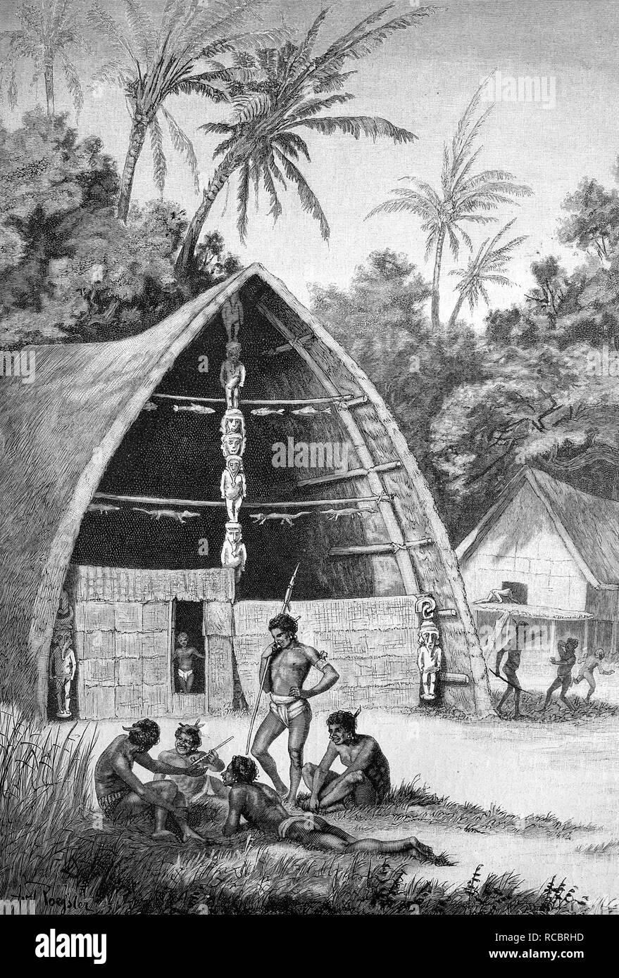 Bachelor house on Bilibili, Sulawesi, Indonesia, historical engraving, 1880 - Stock Image
