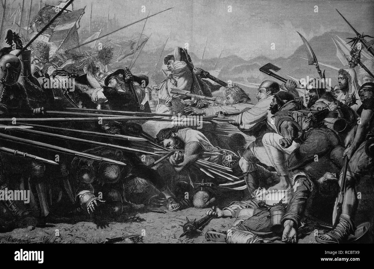 Arnold Winkelried or Arnold von Winkelried, 1386, at the Battle of Sempach, Switzerland, historical engraving, circa 1885 Stock Photo