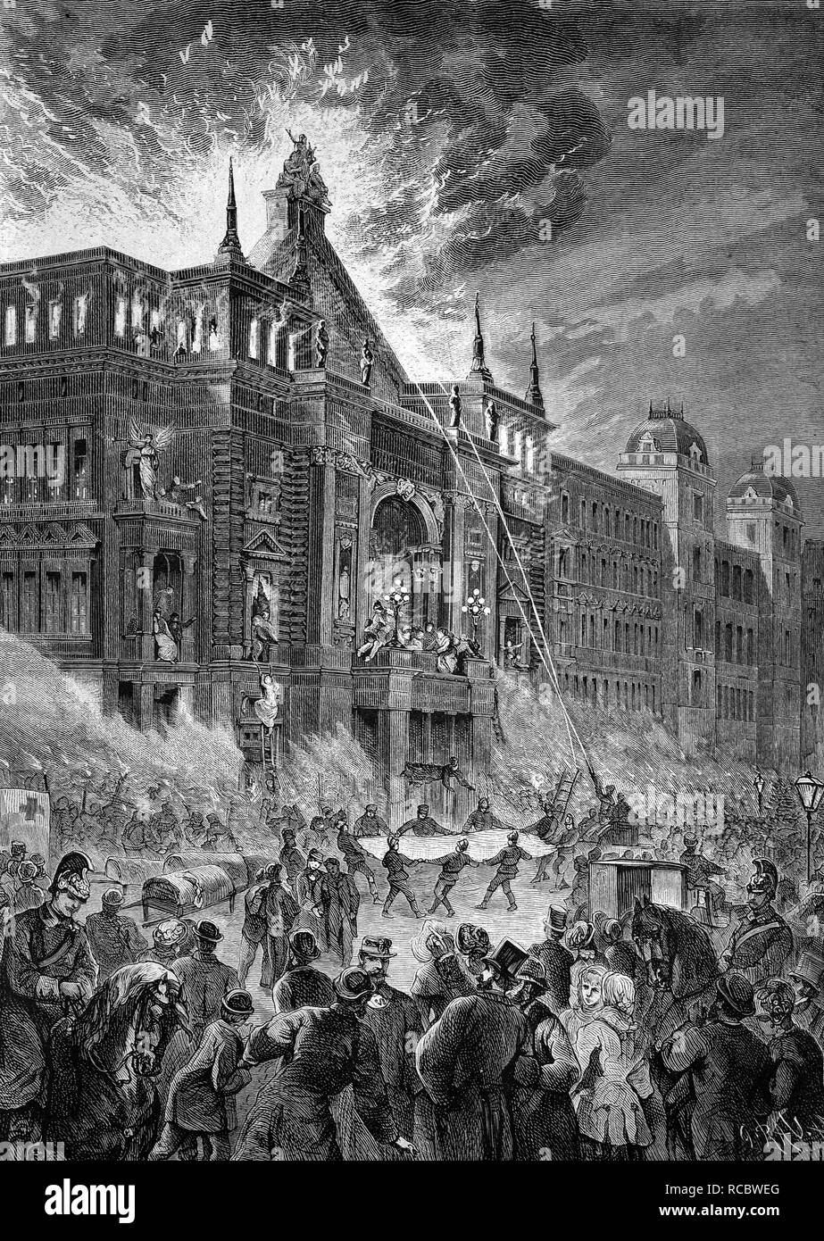 The fire at the Ringtheater theatre in Vienna on 8 December 1881, one of the largest fires of the 19th century in Austro-Hungary - Stock Image