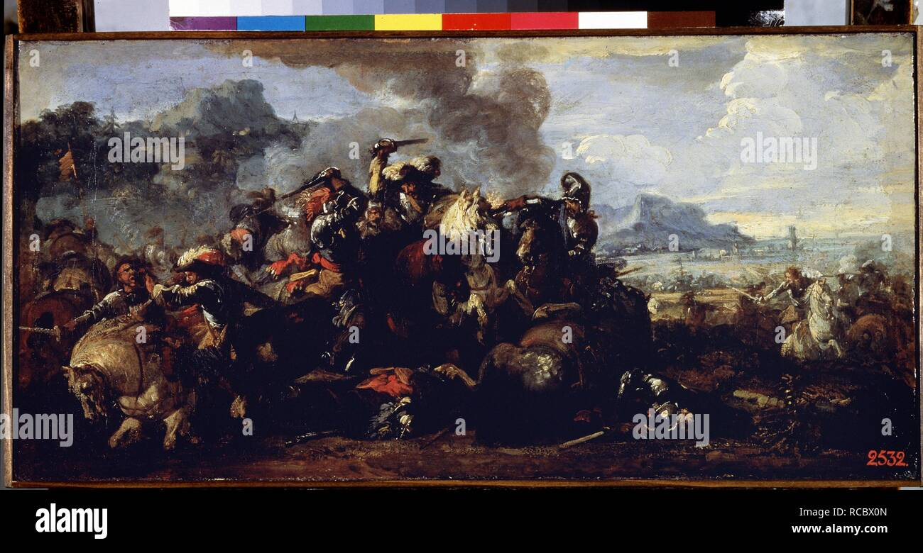 Combat between French and Spanish cavalries. Museum: State Hermitage, St. Petersburg. Author: COURTOIS, JACQUES. - Stock Image
