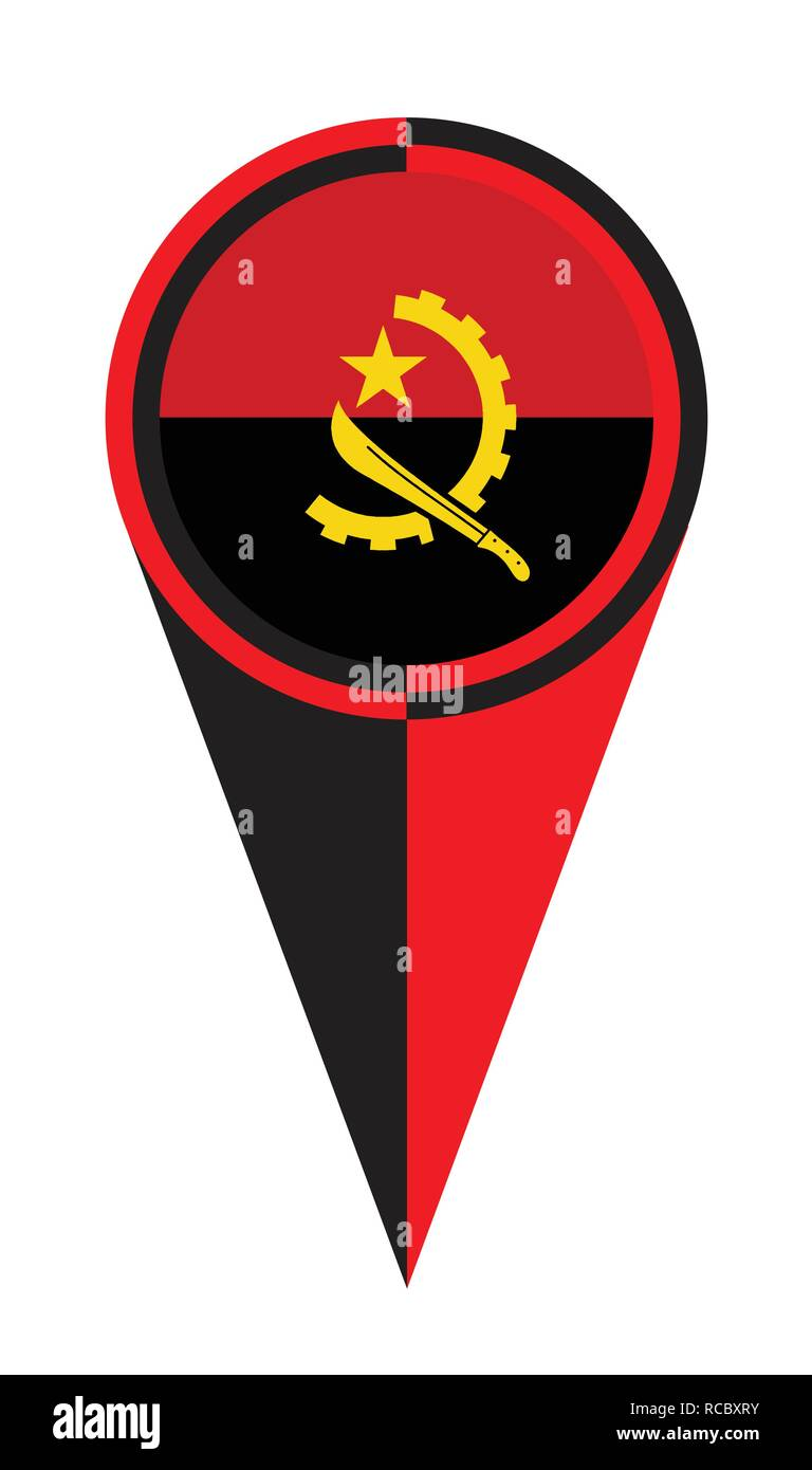 Angola map pointer pin icon location flag marker - Stock Vector