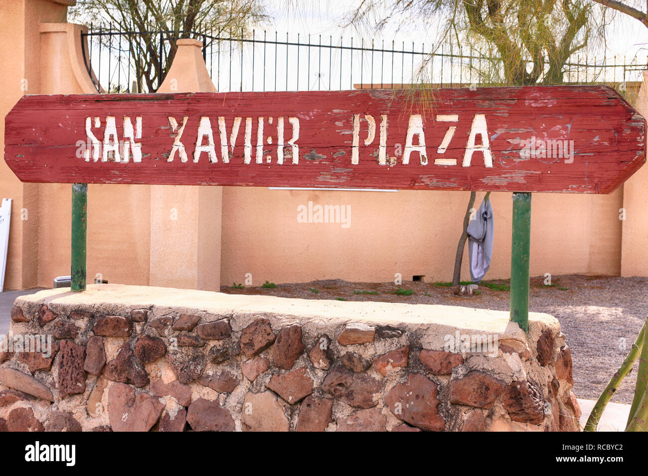 San Xavier Plaza sign outside the Native American Arts and Crafts store area in Tucson AZ - Stock Image