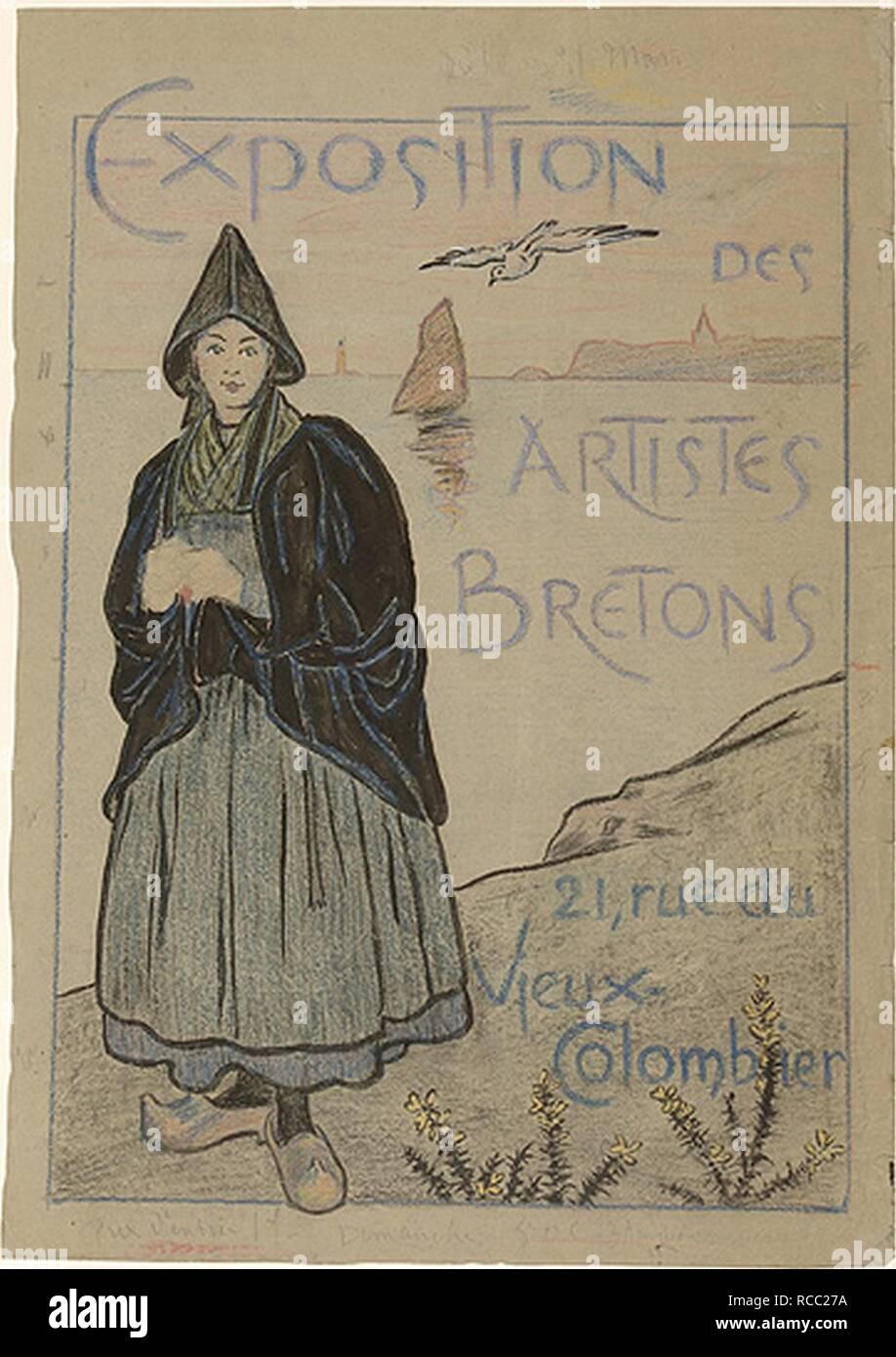Affiche des artistes bretons (projet pastel ) EMR Musée de Bretagne. - Stock Image