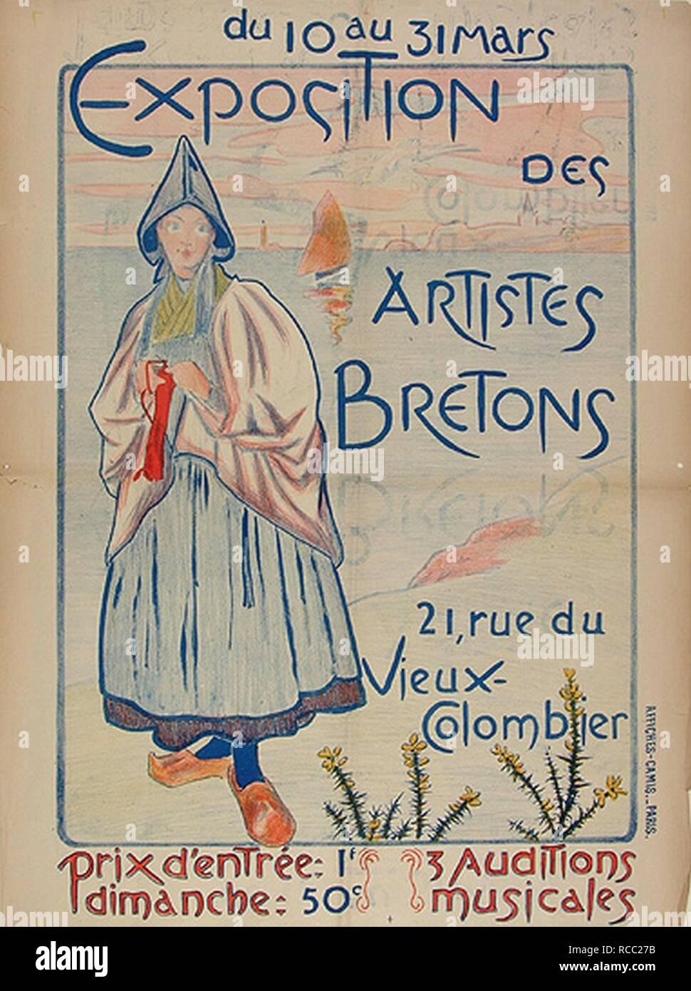 Affiche des Artistes Bretons EMR Musée de Bretagne. - Stock Image