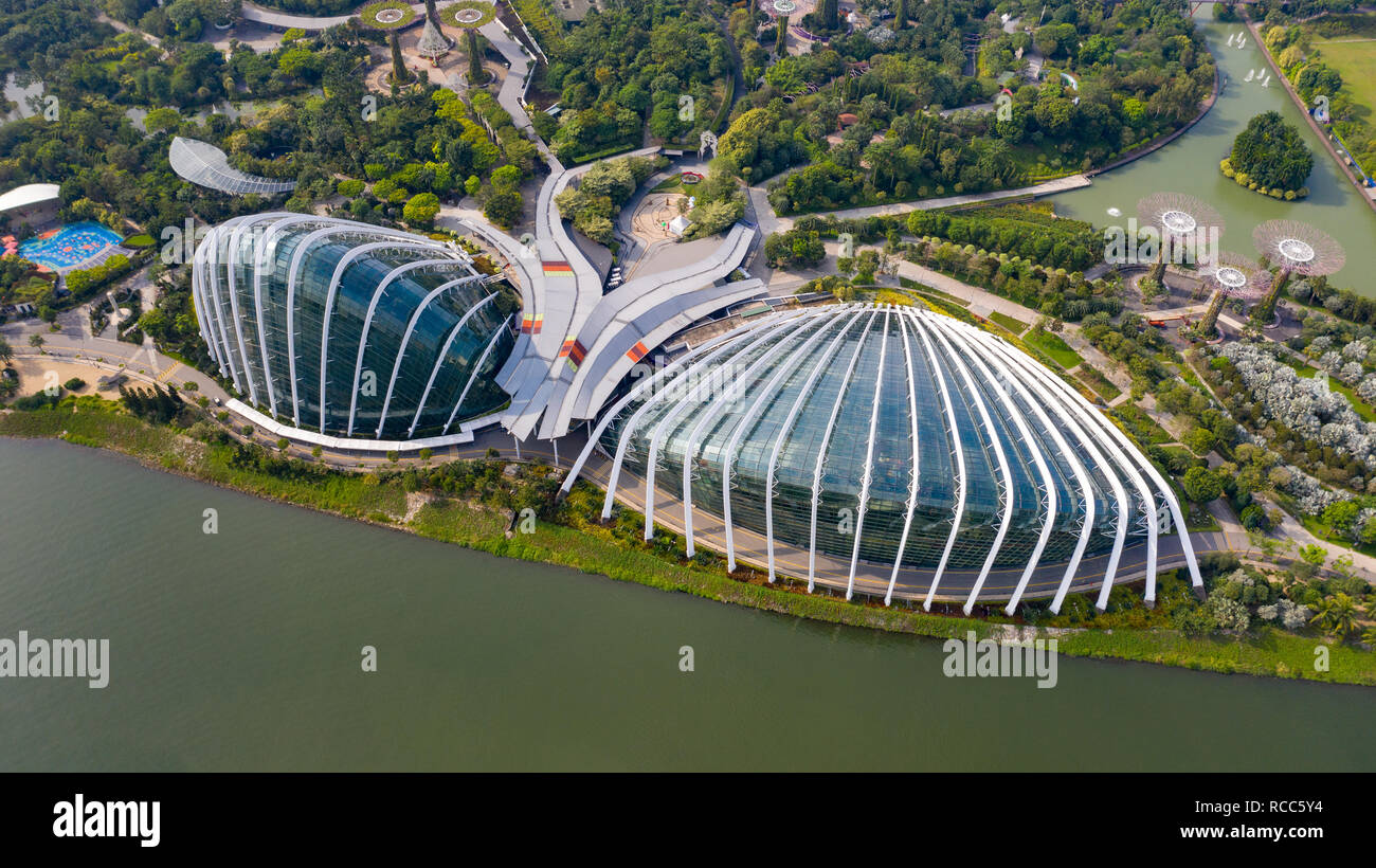 Flower Dome, and Cloud Forest, Gardens by the Bay, Singapore - Stock Image