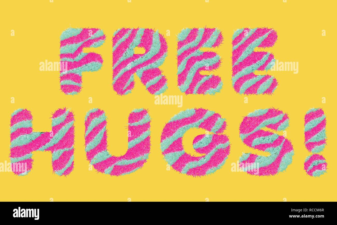 Free Hugs striped fluffy lettering - Stock Vector