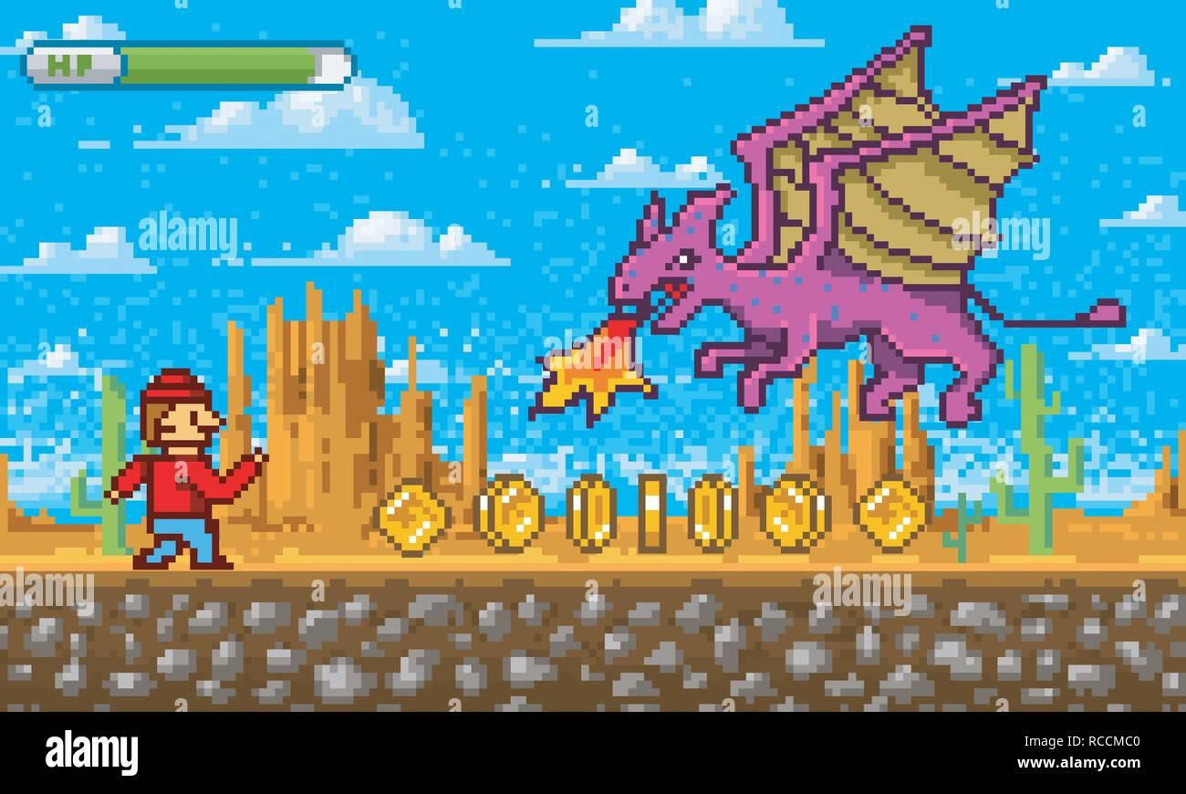 Game scene  Pixel art 8 bit objects  Platformer video