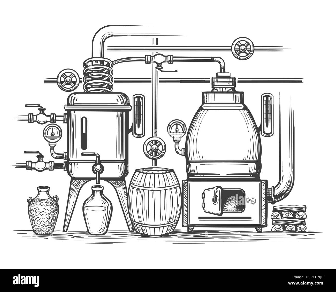 Distillery sketch. Retro stillness gin or whiskey alcohol distillation making equipment, whisky moonshine engraving alembic, vector illustraion - Stock Image