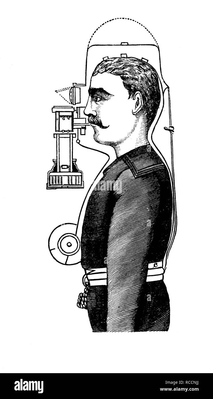 Occupational safety in 1880, smoke hood, historical illustration, wood engraving, about 1888 - Stock Image