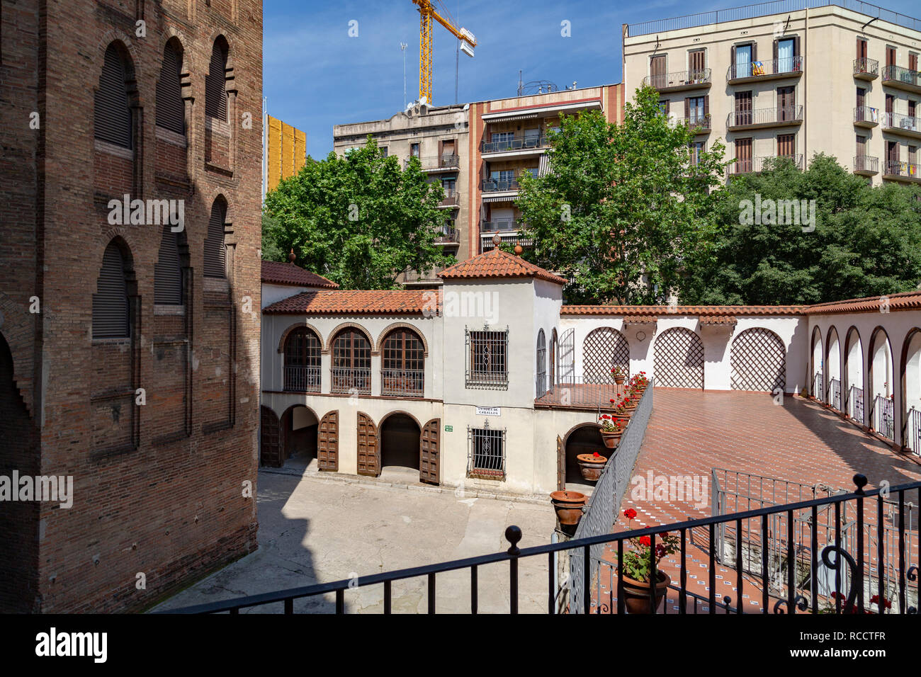 The Plaza Monumental de Barcelona (La Monumental) - Bullring and Bullfighting Museum, Barcelona, Catalonia, Spain - Stock Image