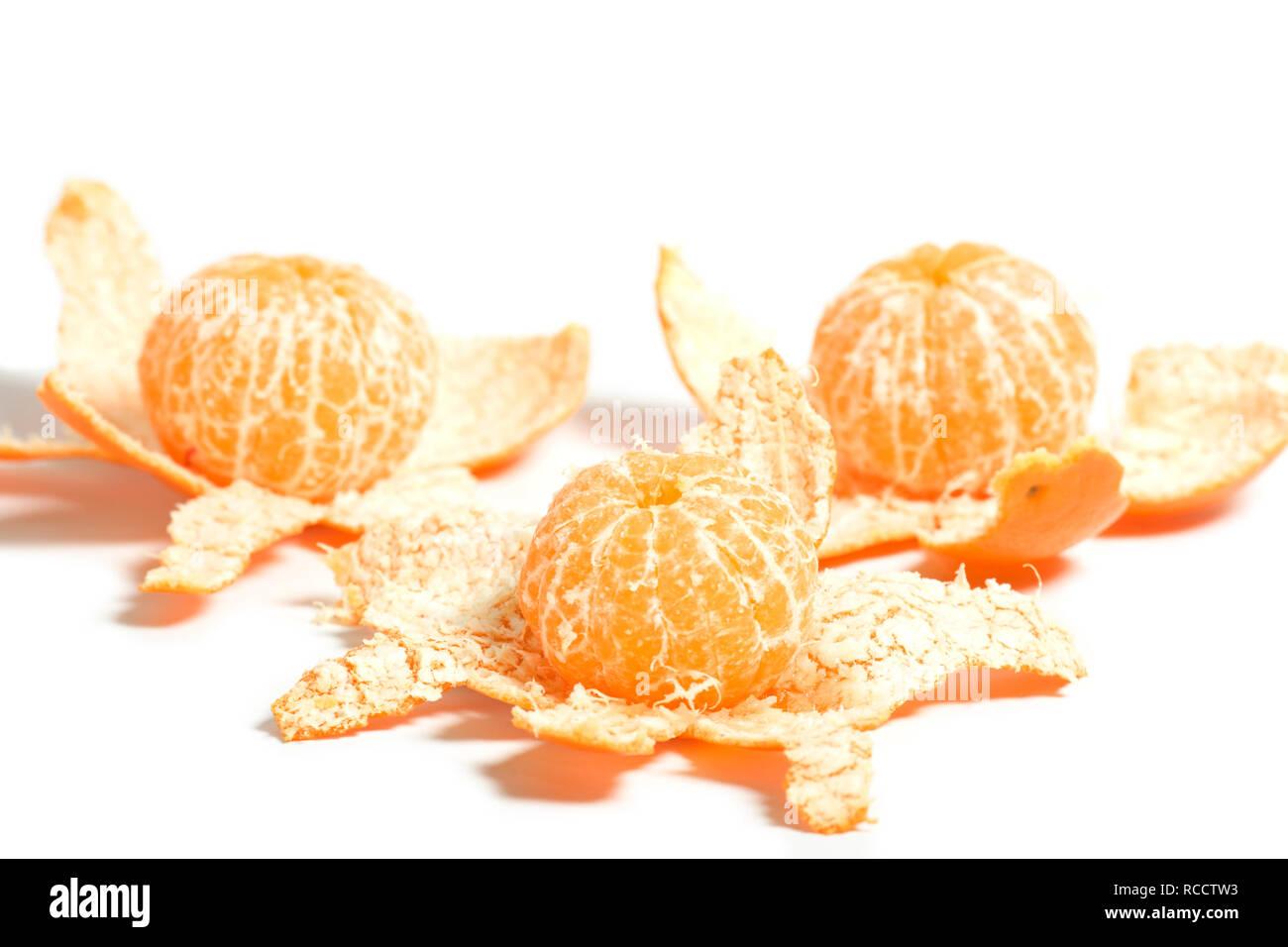 peeled mandarin oranges - Stock Image