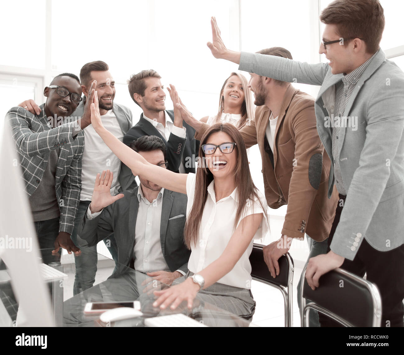 Ambitious Business Team Celebrating Success In The Office Stock Photo Alamy