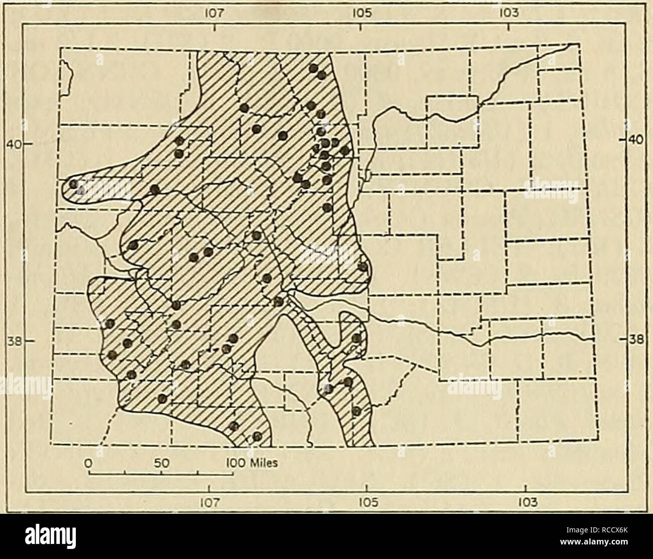 . Distribution of mammals in Colorado. Mammals. 1972 ARMSTRONG: COLORADAN MAMMALS 49 road) NE Silver Cliff, 8100 ft., 1 (KU); Westcliffe, 1 (USNM). Additional records: CLEAR CREEK COUNTY: above Silverplume, 9000 ft. (von Bloeker, 1944:312). EL PASO COUNTY: near Colorado Springs (War- ren, 1942:11). MONTEZUMA COUNTY: Mug House, Wetherill Mesa, Mesa Verde National Park (Hoffmeister, 1967:462). Sorex palustris Water Shrew Sorex palustris occurs near water through- out the mountains of the western three-fifths of Colorado. Extremes of elevation of speci- mens examined are 6000 feet at Rifle Creek  - Stock Image