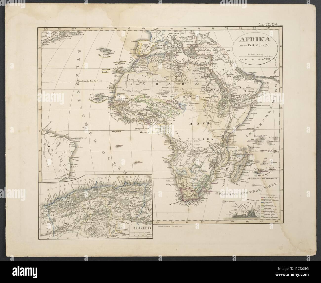 Afrika - Stieler's Hand-Atlas 1859. - Stock Image