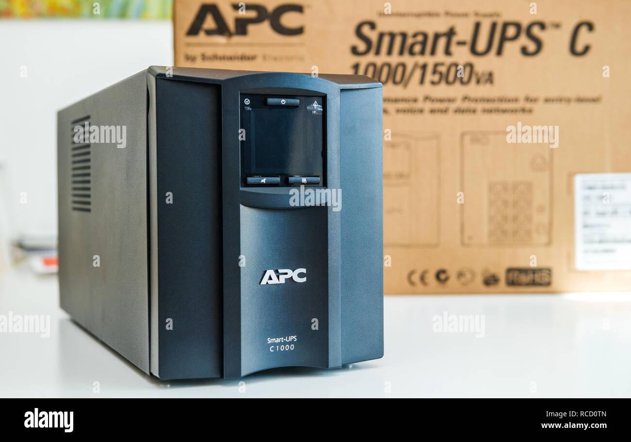 PARIS, FRANCE - MAR 24, 2018: Unboxed new APC Smart-UPS C