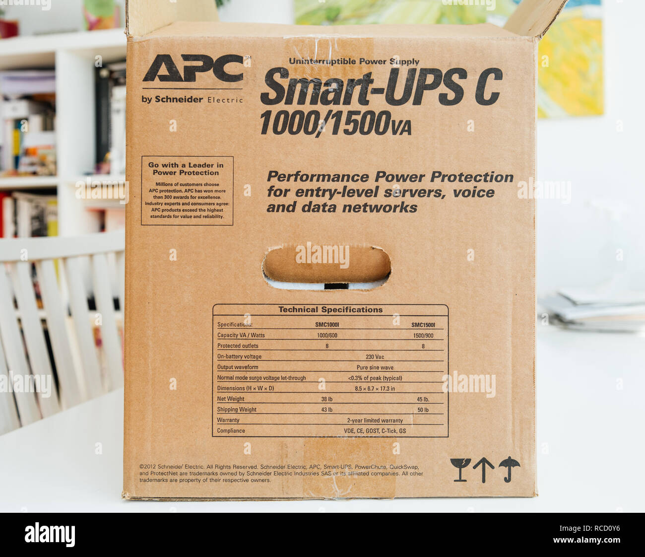 PARIS, FRANCE - MAR 24, 2018: Side view of box APC Smart-UPS