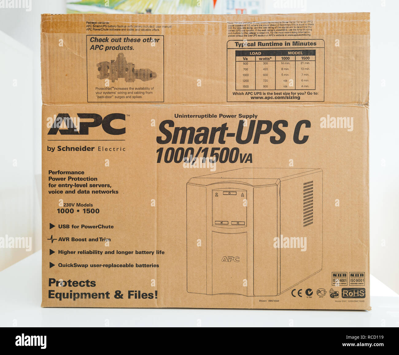 PARIS, FRANCE - MAR 24, 2018: Front view of cardboard box of