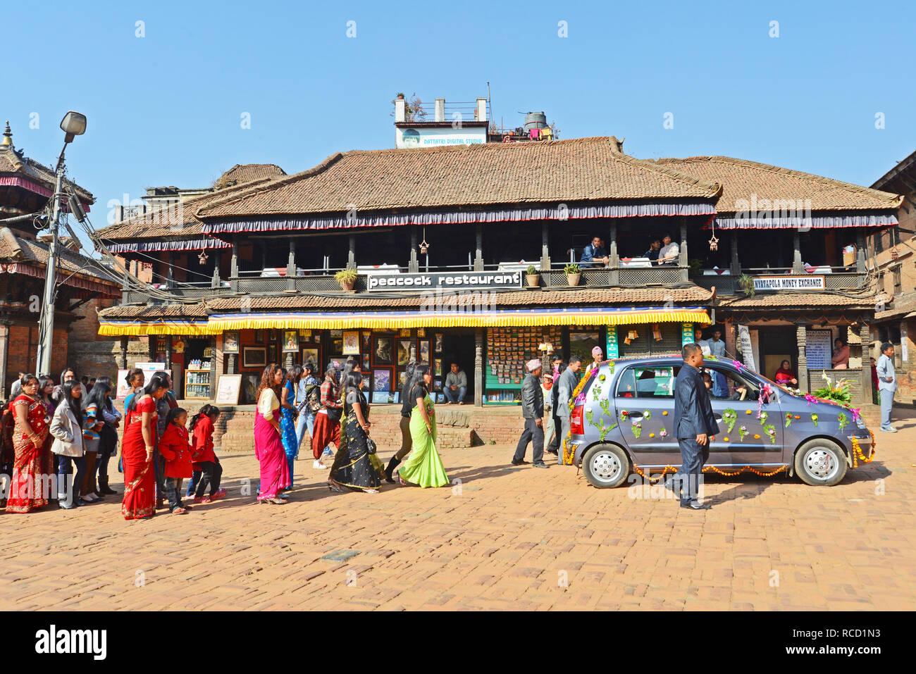 mariage parade in street of  Bhaktapur, Nepal - Stock Image