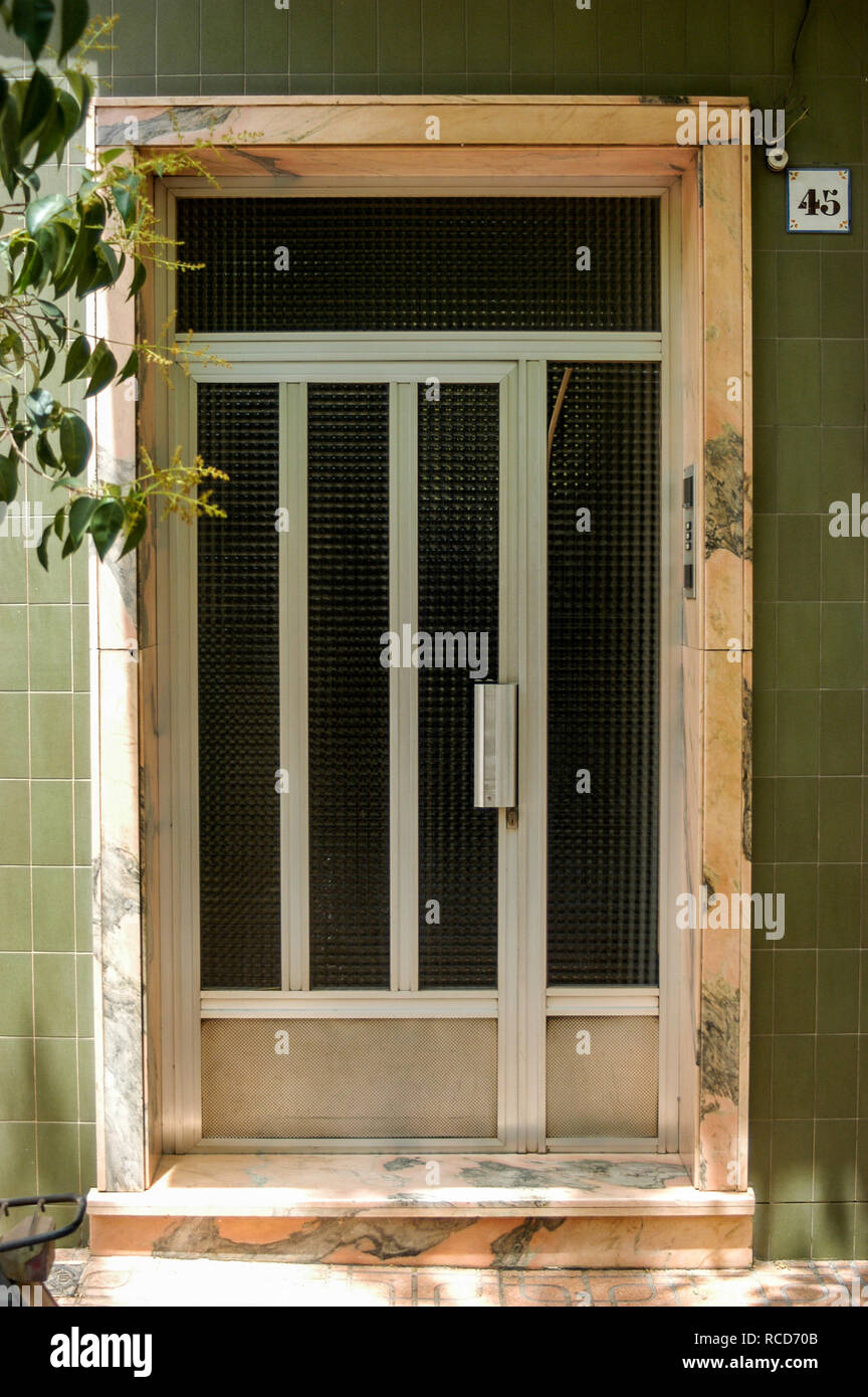 Kitsch Aluminum Metal Door and Door Frame Stock Photo
