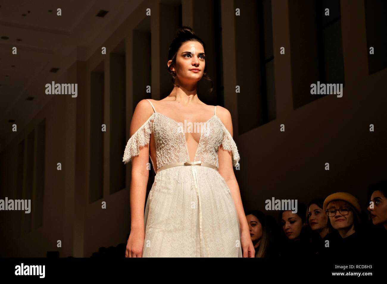 A Model Wears A Creation Wedding Dress Of The Greek Fashion Designer Mairi Mparola During The Second Day Of The Bridal Fashion Week 2019 At Zappeio Megaro In Athens Stock Photo Alamy