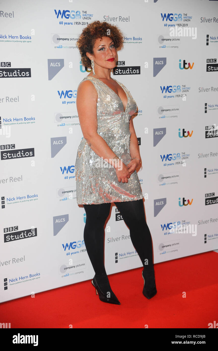 Leigh Alexander, arrives for the The prestigious Writers' Guild Awards annual red-carpet ceremony  which will once again see some of the most acclaimed and respected writers from the Film, TV, Theatre, Videogames, Radio, Books and Comedy industries gather to celebrate the work, success and achievements of their peers and recognise their work in supporting freedom of speech. - Stock Image