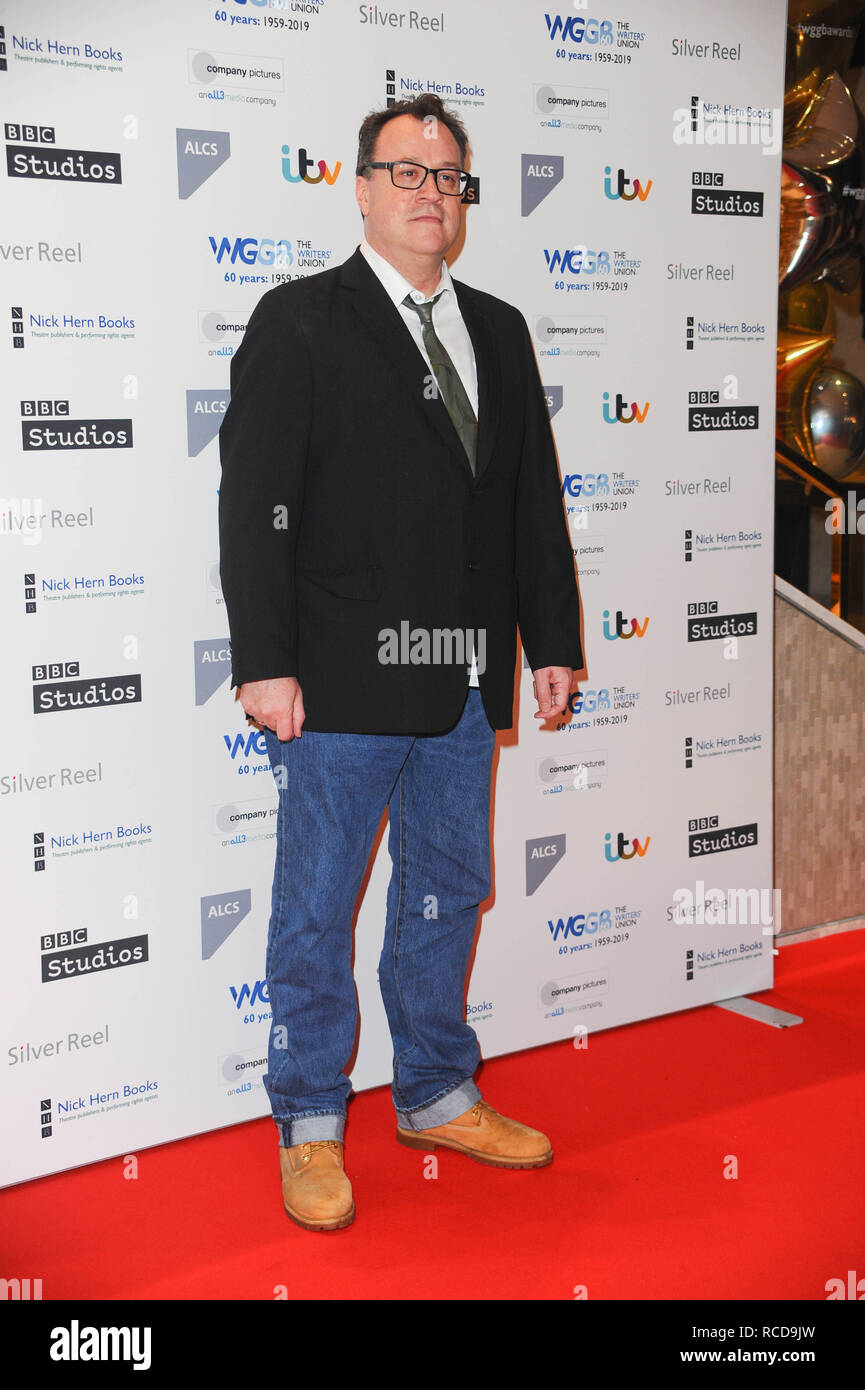 Russell T Davies, arrives for the The prestigious Writers' Guild Awards annual red-carpet ceremony  which will once again see some of the most acclaimed and respected writers from the Film, TV, Theatre, Videogames, Radio, Books and Comedy industries gather to celebrate the work, success and achievements of their peers and recognise their work in supporting freedom of speech. - Stock Image
