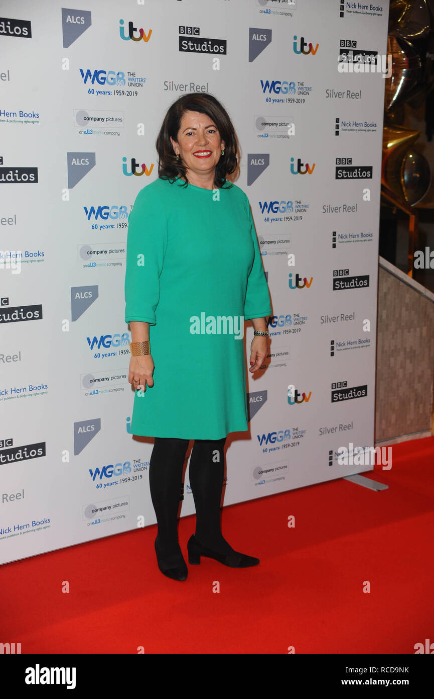 Dame Pippa Harris arrives for the The prestigious Writers' Guild Awards annual red-carpet ceremony  which will once again see some of the most acclaimed and respected writers from the Film, TV, Theatre, Videogames, Radio, Books and Comedy industries gather to celebrate the work, success and achievements of their peers and recognise their work in supporting freedom of speech. - Stock Image