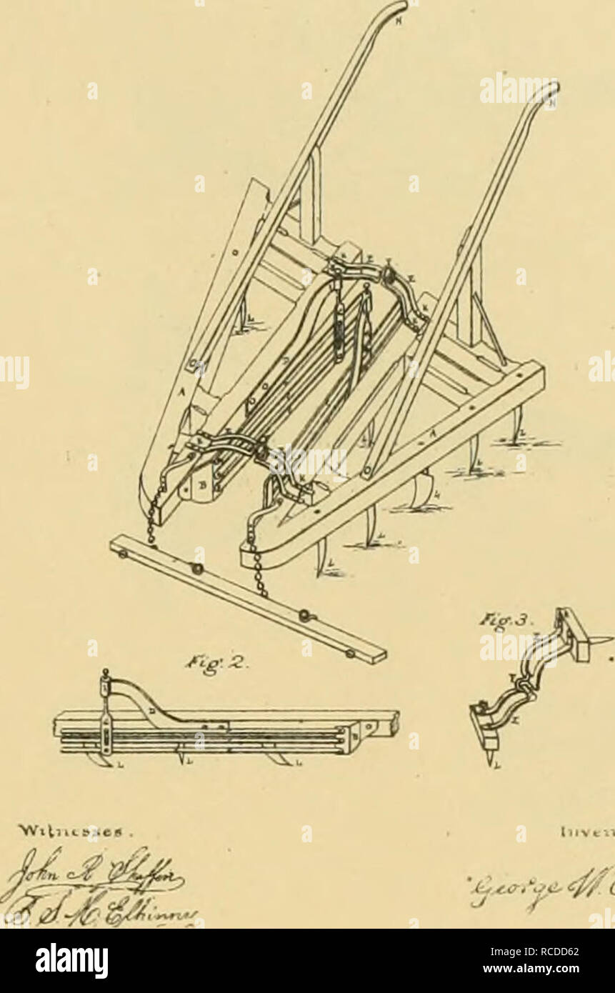 """. Digest of agricultural implements, patented in the United States from A.D. 1789 to July 1881 ... Agricultural machinery; Patents. (ieo W. Owens Corn Cultivator . No. 118,549. ^""""-/, Pil.m.d «iig. 29, 18!!.. '-^.t^' Vti- ^^ oJrt/c^*^ HENRY WELO No. 119,904. Cultivator. Pilsnliil Oct. 10, 1871. WILLIAM W ANDREW. Please note that these images are extracted from scanned page images that may have been digitally enhanced for readability - coloration and appearance of these illustrations may not perfectly resemble the original work.. Allen, James T. (James Titus); United States. Patent Office. [New  - Stock Image"""
