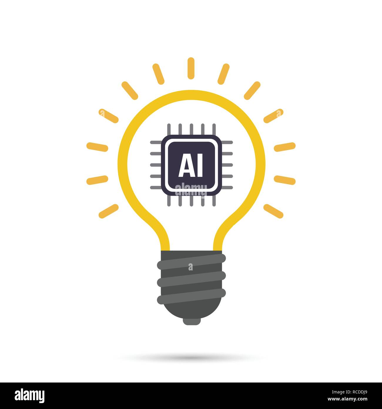 AI Artificial intelligence Technology bulb icon design element vector illustration eps10 Stock Vector