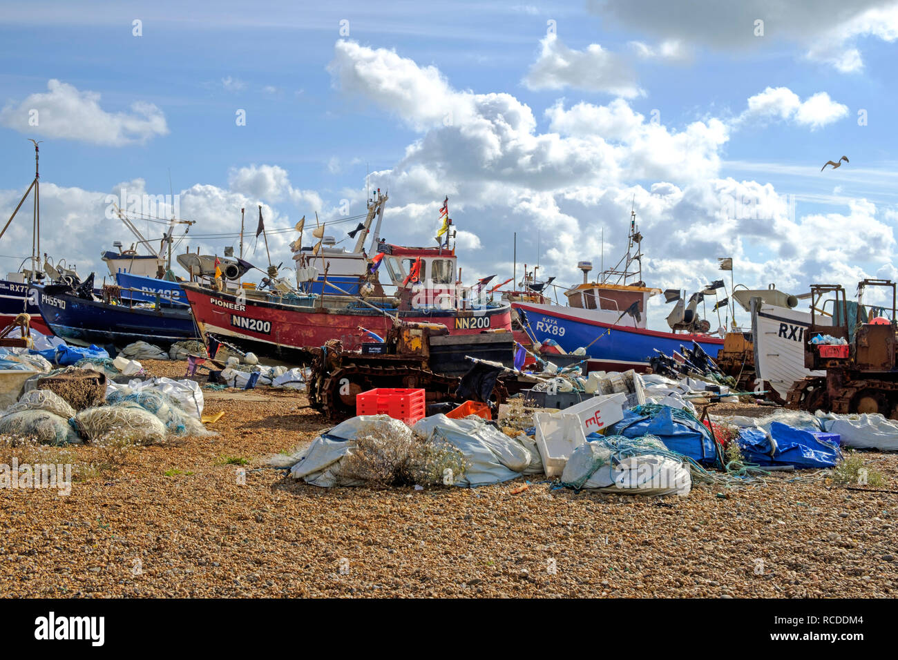 Hastings Old Town Stade fishing boat beach. Hastings has one of the largest beach-launched fishing fleets in Europe Stock Photo