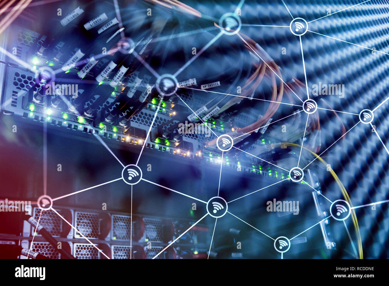 Wi fi network abstract structure on modern server room background. - Stock Image