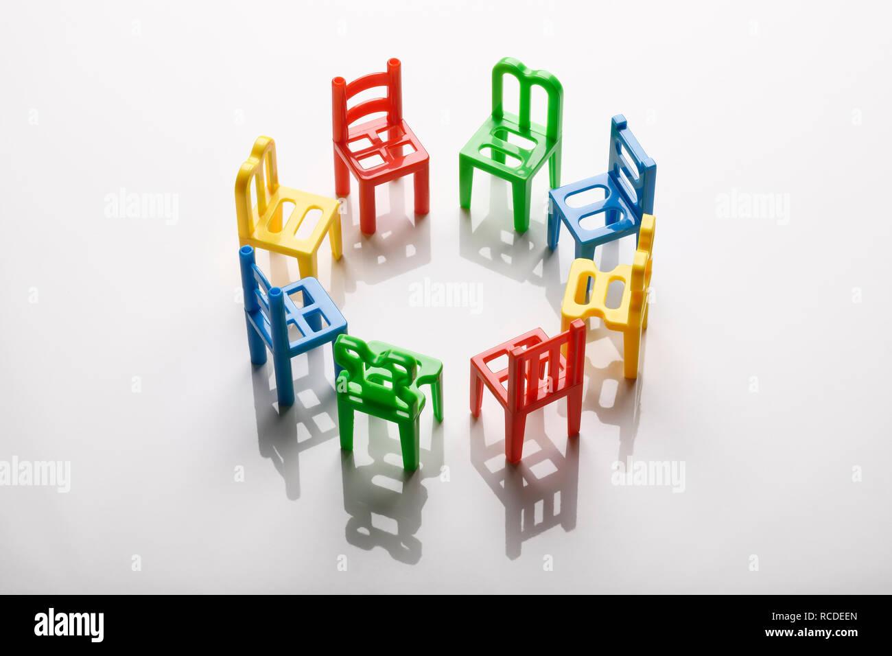 A circle of mini plastic chairs  sc 1 st  Alamy & A circle of mini plastic chairs Stock Photo: 231407421 - Alamy