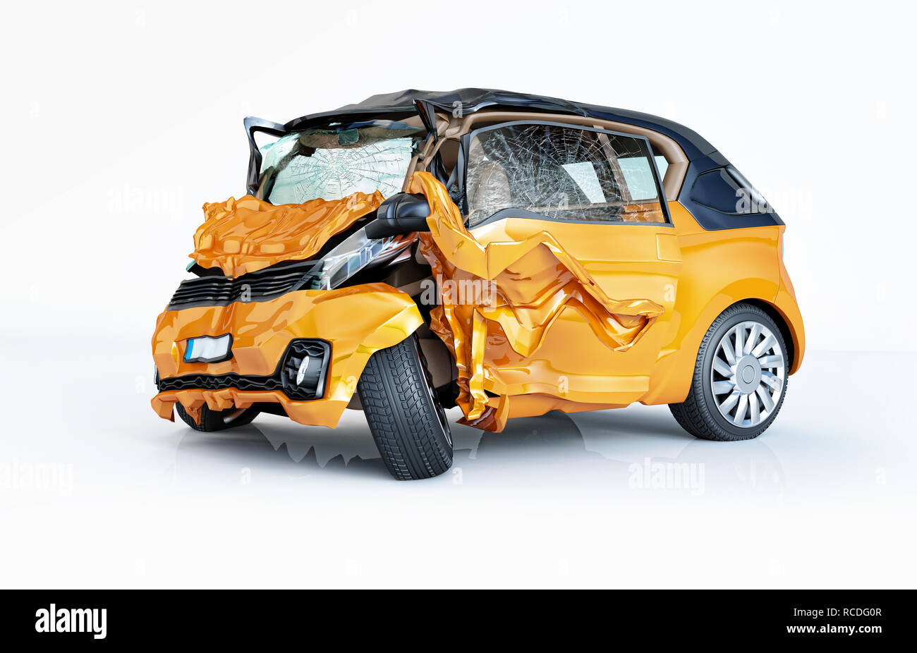 Single car crashed. Yellow city car havily damaged on the front part. Isolated on white background. Perspective view. - Stock Image