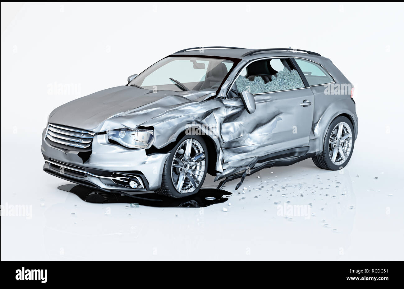 Single Car Crashed Silver Coupe Havily Damaged On A Side Isolated On White Background Perspective View Stock Photo Alamy