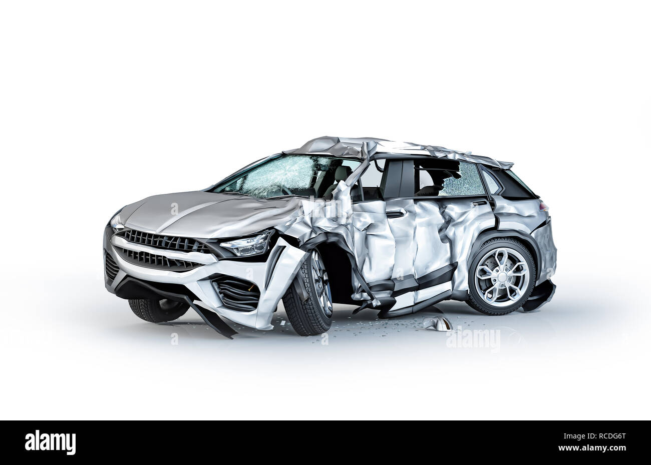 Single car crashed. Silver sedan heavily damaged on a side. Isolated on white background. Perspective view. - Stock Image