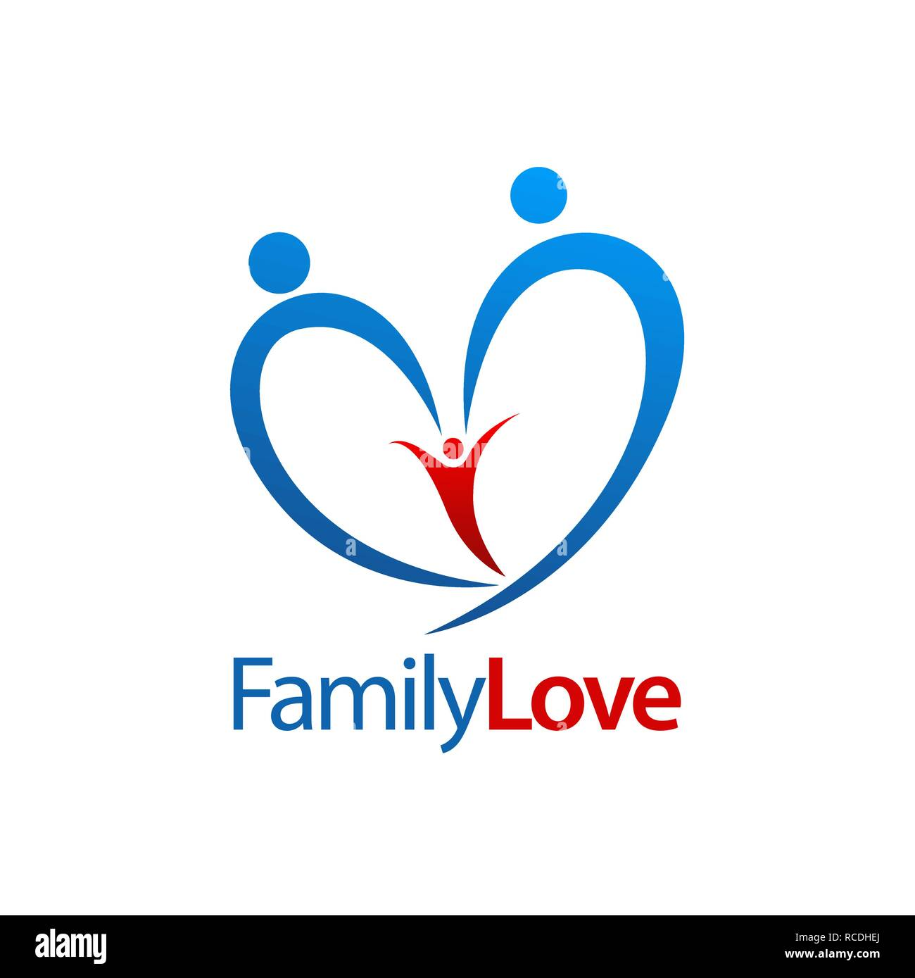 Three human family love logo concept design. Symbol graphic template element vector - Stock Vector