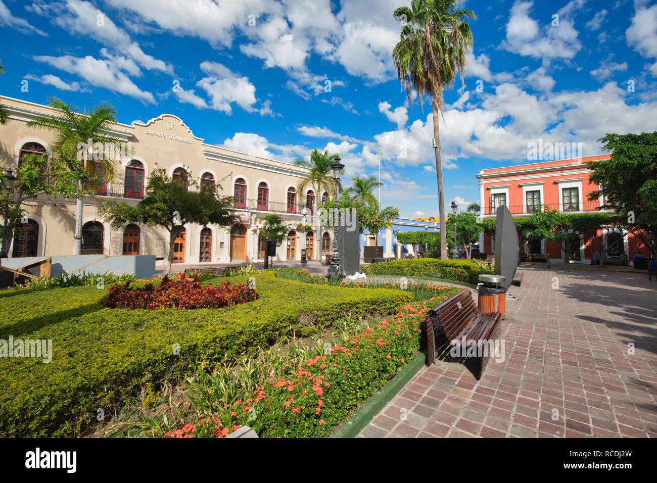 Mazatlan, Mexico-10 December, 2018: Mazatlan Old City central plaza in historic city center Stock Photo