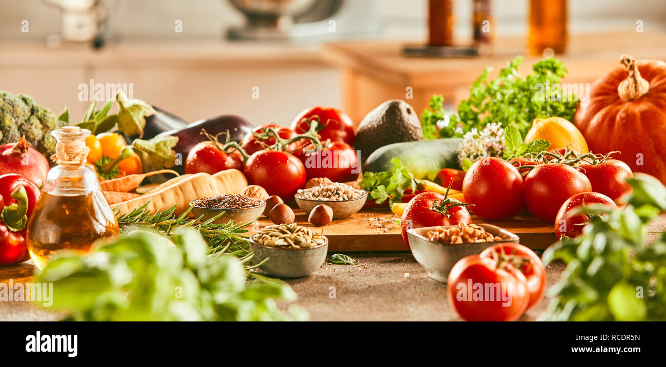 Panorama Banner With Fresh Vegetable Ingredients For Italian And Mediterranean Cuisine Olive Oil Herbs Spices On A Kitchen Counter Stock Photo Alamy