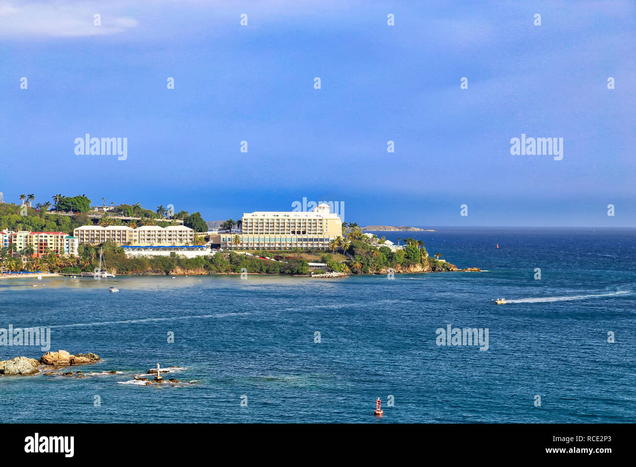 Saint Thomas Island and Charlotte Amalie bay panoramic view – a popular destination for Caribbean cruises and vacations Stock Photo