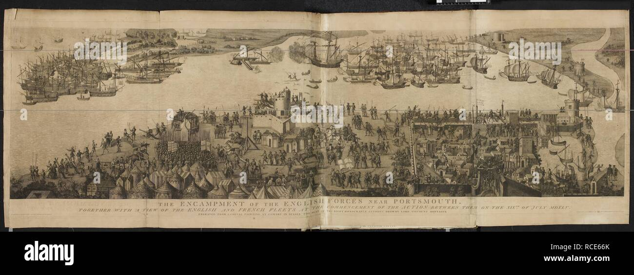 Illustration of the encampment of English forces near Portsmouth, and of English and French fleets. The encampment of the English forces near Portsmouth... [London,] 1778. The encampment of the English forces near Portsmouth, together with a view of the English and French fleets at the commencement of the action between them on the 19th of July, 1545, from a coeval painting at Cowdry, in Sussex. Engraved by J. Basire. Society of Antiquaries of London. Source: 3.Tab.24 (2). - Stock Image