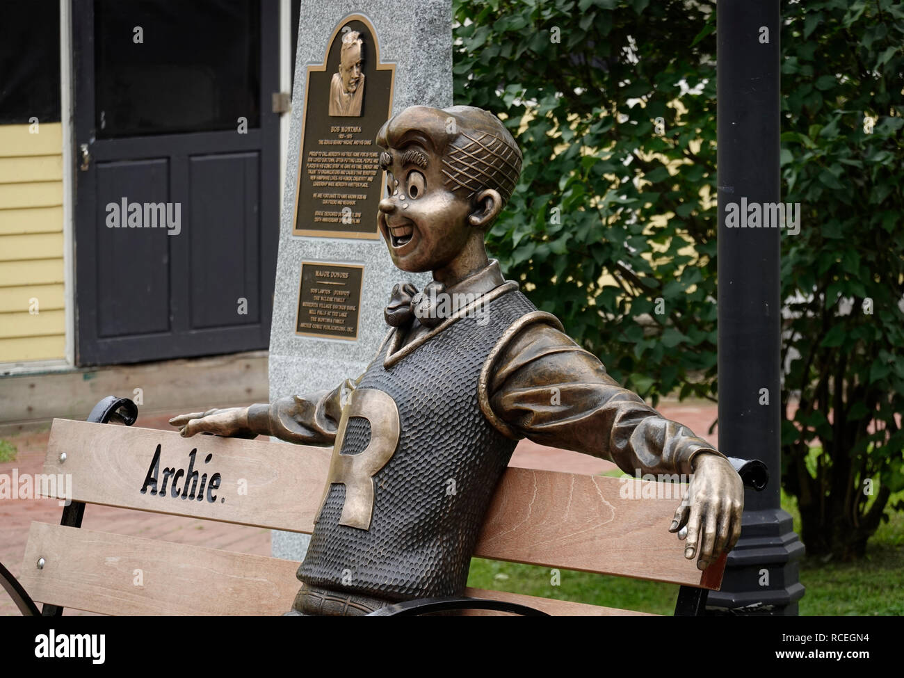 Archie cartoon character sculpture in Meredith New Hampshire Stock Photo