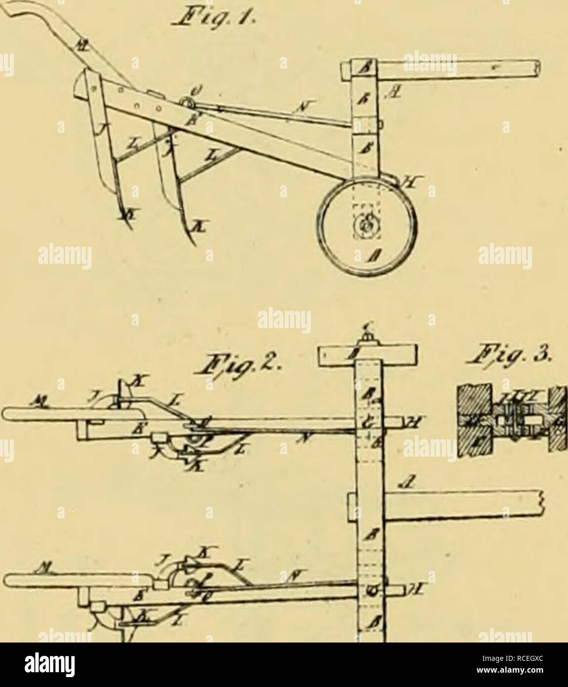 ". Digest of agricultural implements, patented in the United States from A.D. 1789 to July 1881 ... Agricultural machinery; Patents. I. a BARLEY, Wlieel-CiilUviitor PsWnted Se|.t 24, 1857. ^^ Mnt""Ur: >* ! W ^_^^^3; . ^ ^=^=^ -—,4, ^ P^^ f. Please note that these images are extracted from scanned page images that may have been digitally enhanced for readability - coloration and appearance of these illustrations may not perfectly resemble the original work.. Allen, James T. (James Titus); United States. Patent Office. [New York, Printed by J. C. Von Arx - Stock Image"